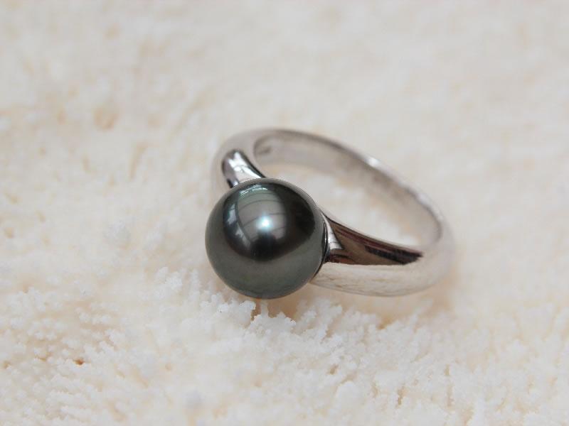 bague perle noire argent